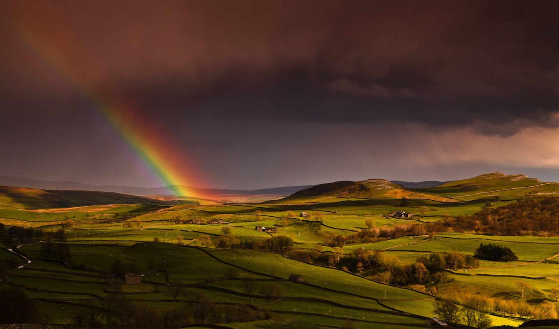 радуга, небо, трава, взгляд,