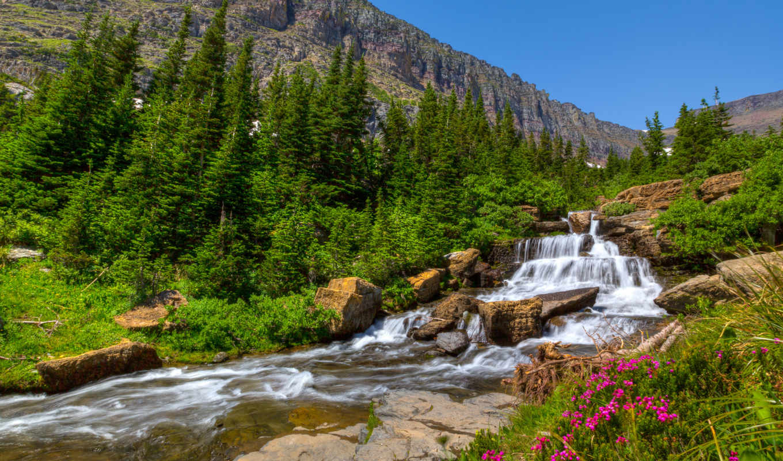 ,горы,река,скалы,камни,цветы,елки,