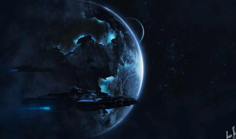 корабль, cosmic, космос, planet, star, fly, арта
