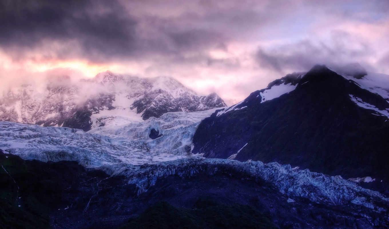 glacier, гор, ipad, cloudy, хребты, горные, вершины, горы, mountain, landscapes,