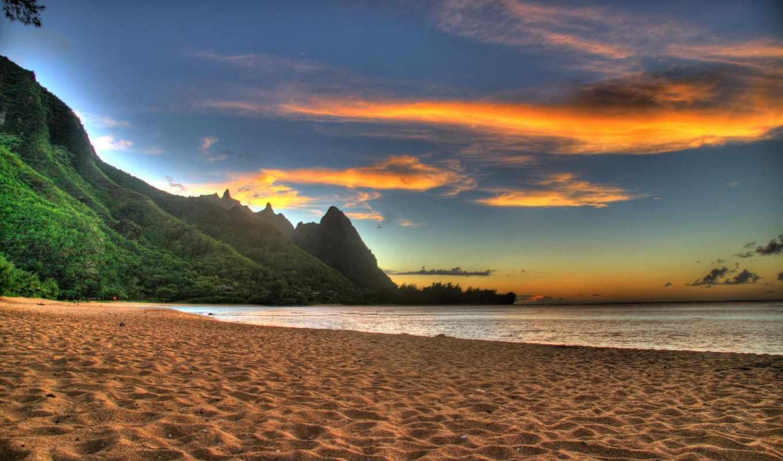beach, sunset, песок, praia, desktop, kauai, download, funny, placebo, природа, que, горы,