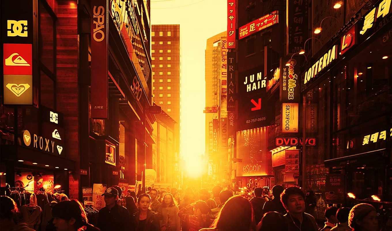 япония, люди, китай, город, улица, картинка,