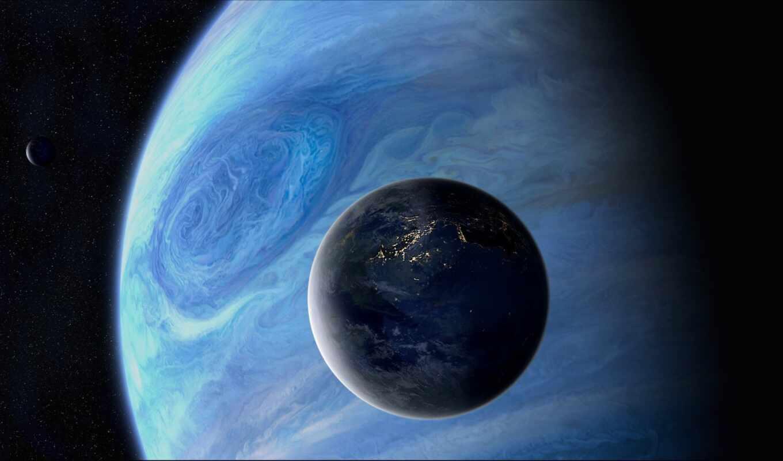 космос, спутник, планеты, огни, звезды, арт,