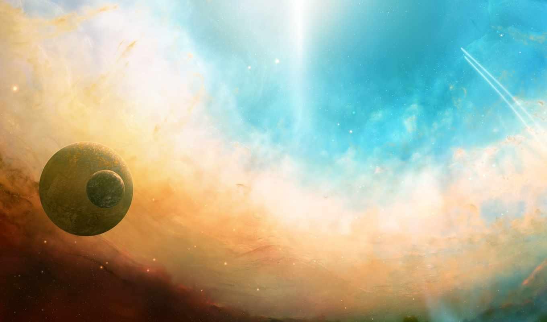 планеты, небо, графика, картинка, картинку, космос, полет, сияние, звезды, кнопкой,