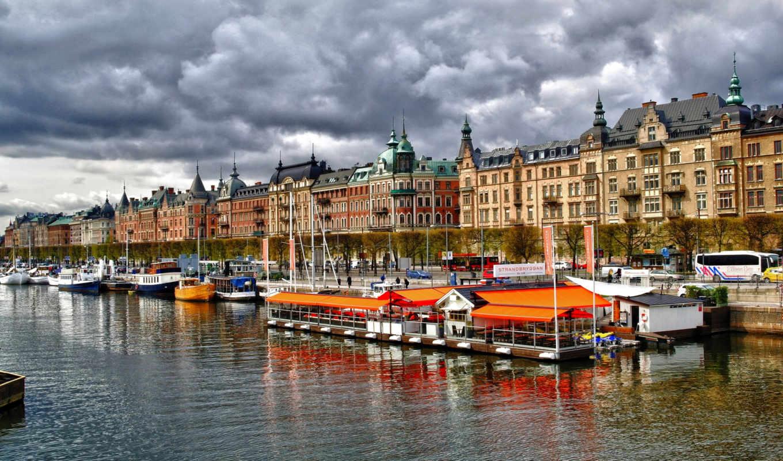 strandvägen, stockholm, lei, photo, стокгольм,река,небо,