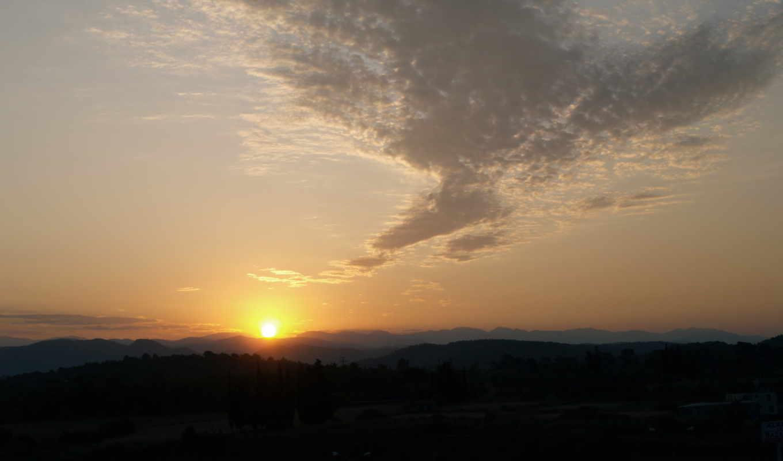 sun, горы, рассвет, облака, картинка, солнца,