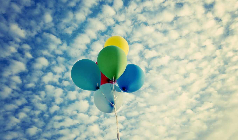 воздушные, шары, небо, oblaka,