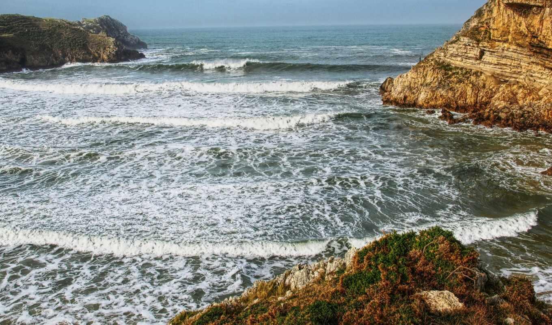 побережье, испания, mocah, море, cantabrium