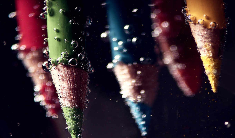 карандаши, вода, пузырьки, макро, free, под, водой, pencil, пузыри, картинку, photography, color, àãæ, картинка,