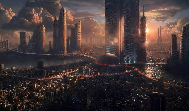 futuristic, городской, пейзаж,