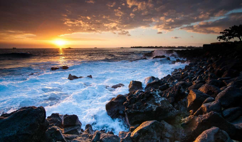 hawaii, закат, камни, океан, побережье, картинку,