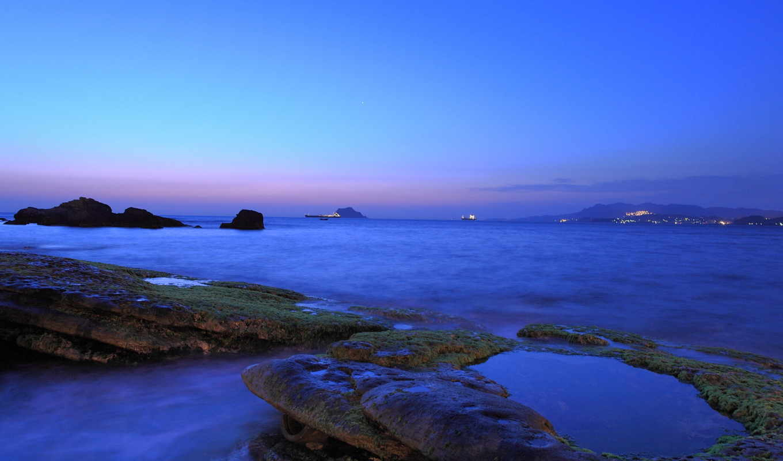 сумерки, небо, вечер, облака, blue, море, берег, ocean,