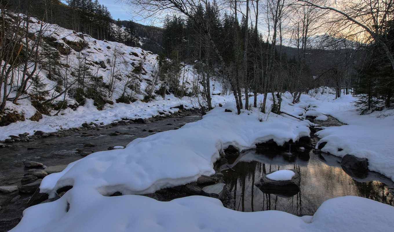 река, snowy, ручей, янв, winter,