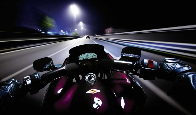скорость, мотоцикл, дорога, игуасу, ночь,