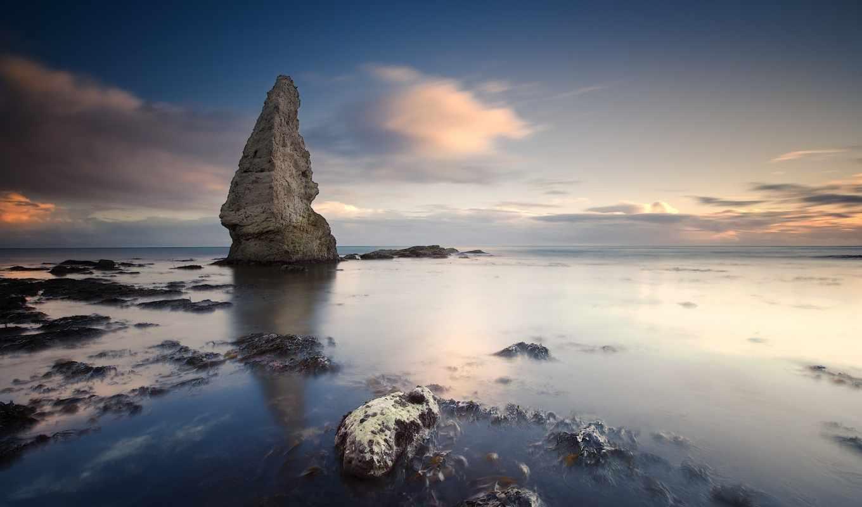 небо, горизонт, море, rock, побережье, фотографий, трава, деревя, камни,