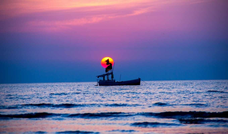 закат, море, лодка, спокойствие