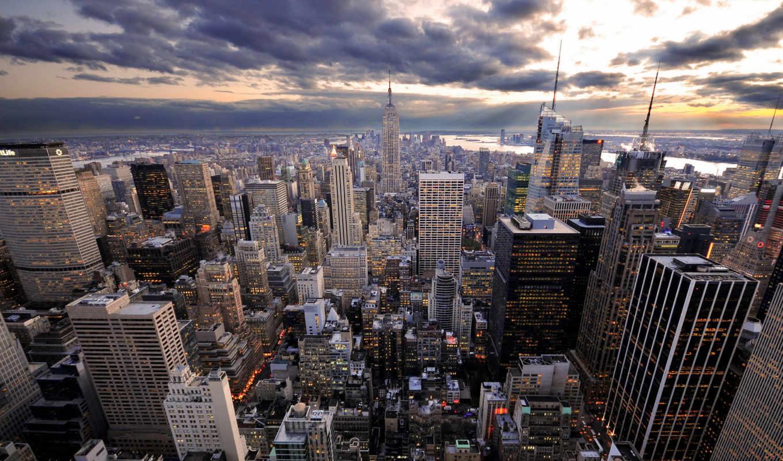 york, нью, небоскрёб, облака, city, free, desktop, cities, aerial,