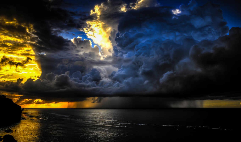 sky, clouds, sunset, ocean, bali, indonesia, big, gorgeous, calm, golden, pictures, download, pecatu, sea,
