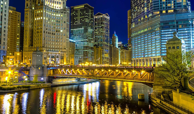 chicago, illinois, город, река, bridge, сша, magnificent, mile, usa, ночь, здания, свет, освещение, michigan, небоскребы, avenue, отражение,