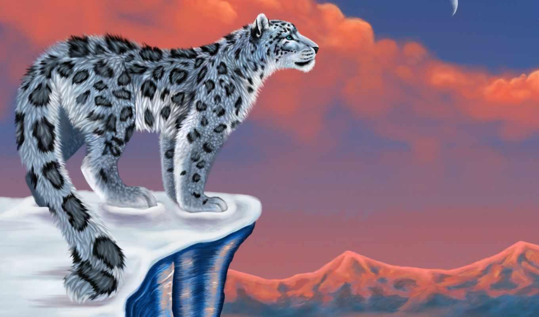 леопард, рисунок, снег, ирбис, луна, горы,