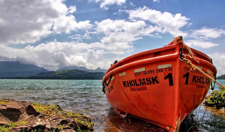 лодка, пляж, anchored, озеро, янв, desktop, row,