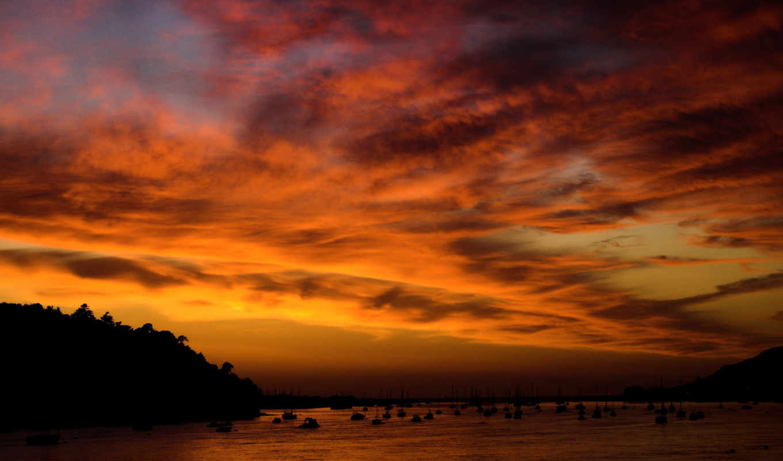 landscapes, корабли, hory, закат, природа,,