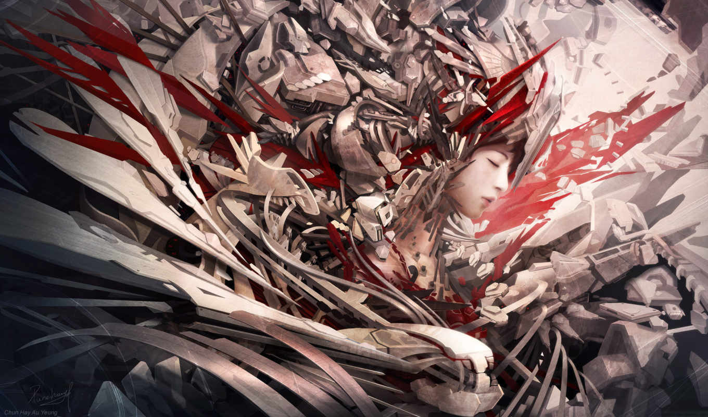 фантастика, будущие cg wallpapers, china, sacrificed evolution, chun hay au yeung, девушка, фан самолет, хай-тек, будущие, город