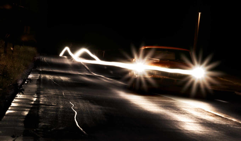 свет, фары, фар, машины, дорога, ночь, туман,