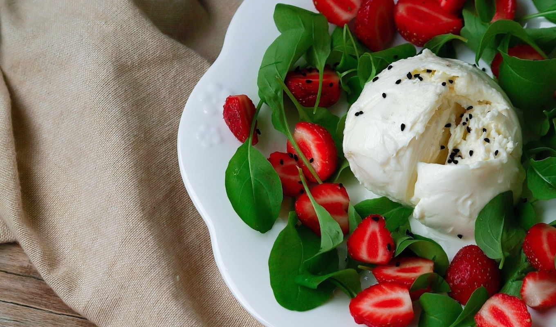 клубникой, салат, моцареллой, моцарелла, рукколой, сыр, рецепт, руколой, украшенный,