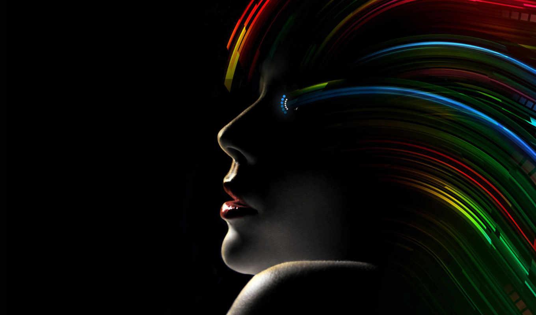 лицо, девушка, devushki, женское, волосами, fone, черном, remover, абстракция,