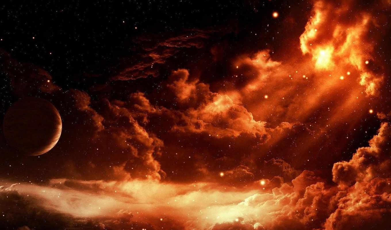 планета, облаках, space, облака, звезды, desktop, starry, widescreen,