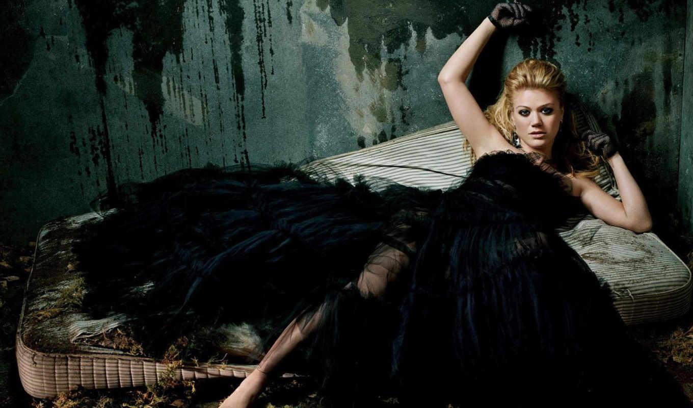 девушка, черном, платье, платья,