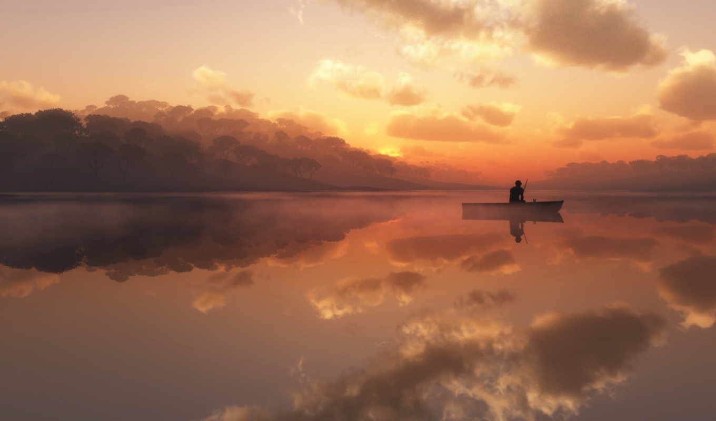 рыбак, рыбалка, лодка, природа, рассвете, небо, рассвет, озеро,