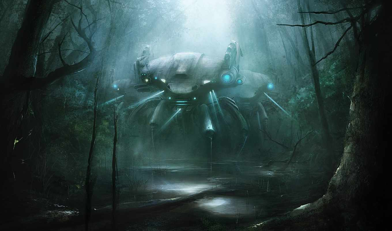 robot, water, art, fantasy, деревя, техника,