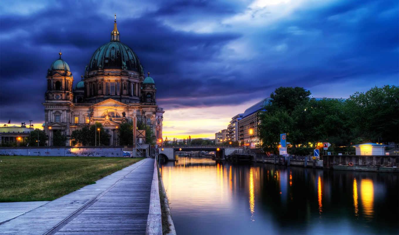 вечер, мост, германии, германия, река, berlin, cathedral,