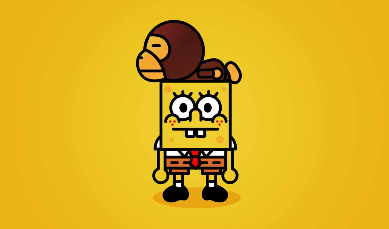 спанч, боб, spongebob, желтый, картинку, baby, картинка, обезьяна,