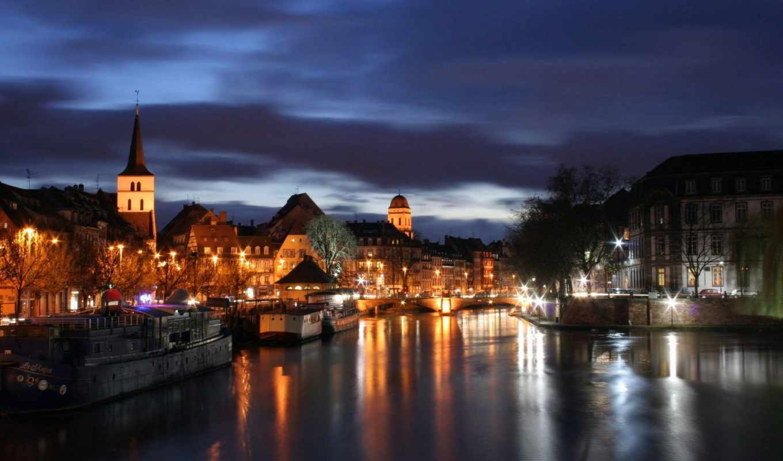 страсбург, france, вечером, night, architecture, кликните, чтобы,