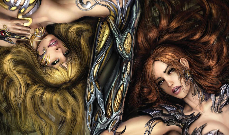 witchblade, девушки, лежат, доспехи, когти,