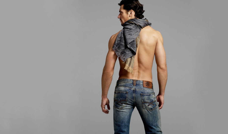 парень, тело, мужчина, спина, джинсы,