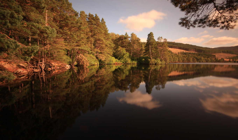 summer, late, озеро, лес, горы, поле,