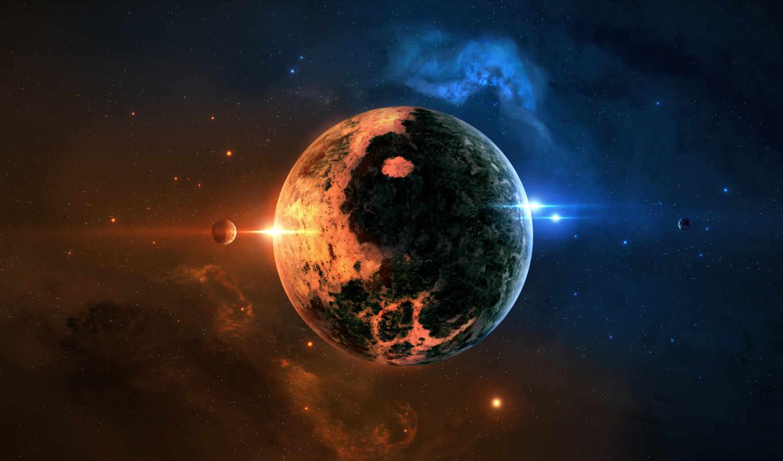 планета, звезды, туманность, свечение