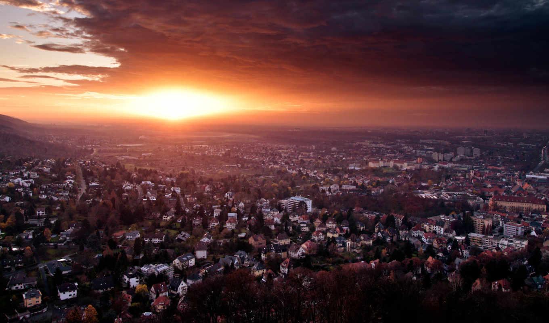 german, город, закат, взгляд, здания, сверху, конец, германия, панорама, дня,