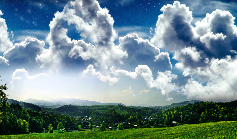 облака, природа, широкоформатные, небо, пышные, house, стадо, progressive, над, облаков,