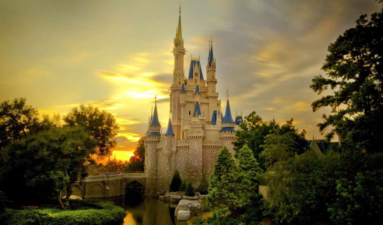 castle, sunset, cinderella, over, widescreen, desktop, download, free, background, resolution,