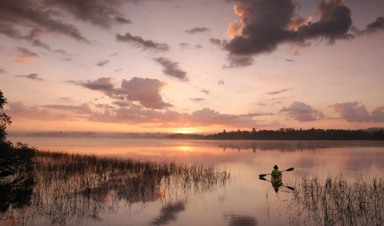 небо, закат, природа, landscape, облака, река, гладь, море,