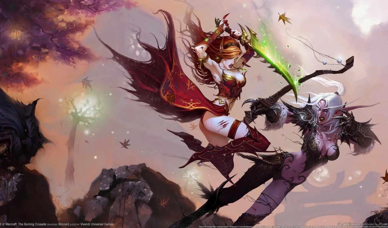 world, warcraft, эльфийки, бой, битва, свой,