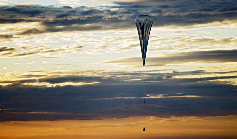 метеозонд, парашют, закат, облака