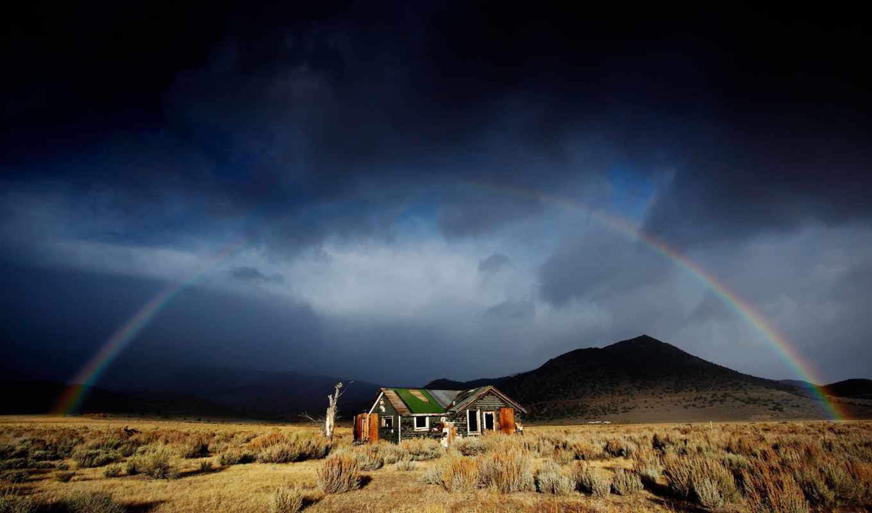 arco, iris, радуга, pantalla, parede, горы, windows, fondos, arc, papéis,