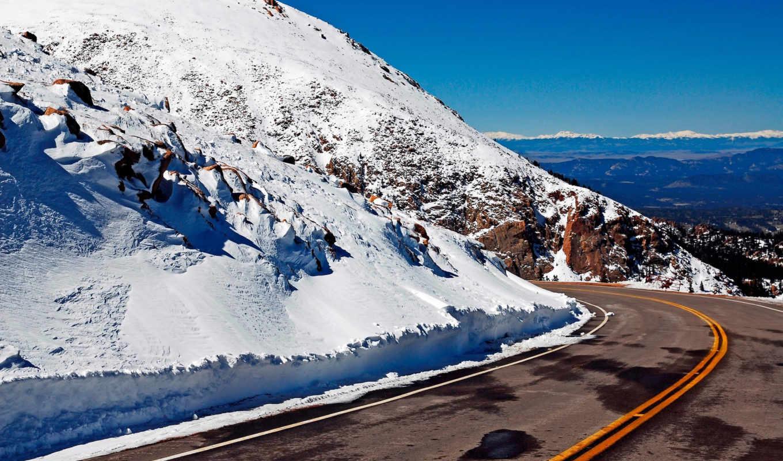 горы, снег, road, природа, изображение, горная, серпантин,