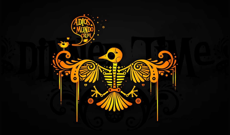 adios, mundo, черный, птица, cruel, желтый, crud, праздника, los, графика, amazing, wallpapere, muertos,